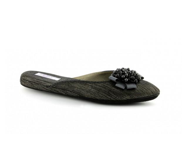 ceb5228d94524 women's slippers VICTORIAN silver pinstripe gleam black leather ...
